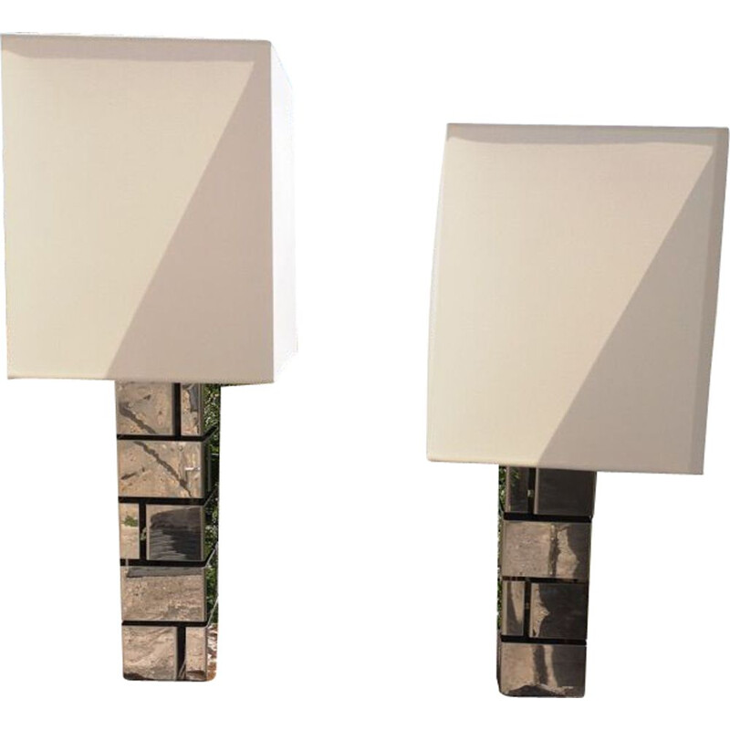 Pair of Building Vintage lamps by Curtis Jere 1970
