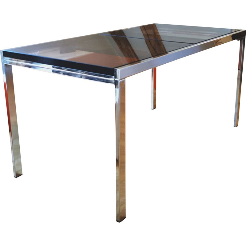 Vintage extensible dining table in metal and smoked glass 1970
