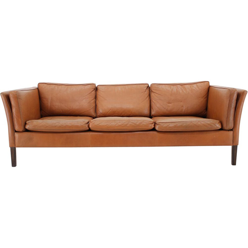 Vintage Cognac Brown Leather 3-Seater Sofa Danish 1960s