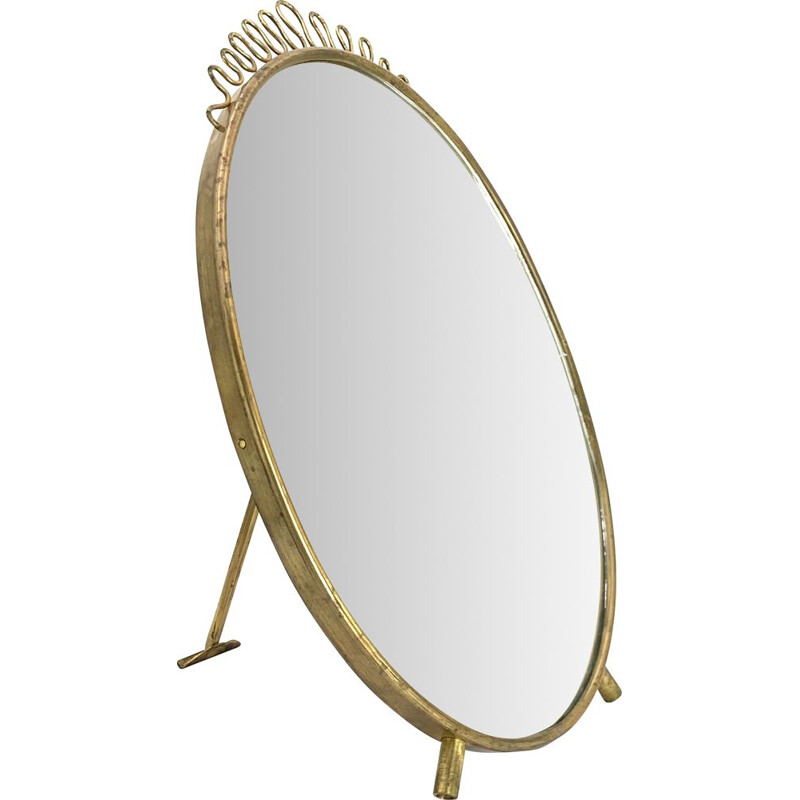Vintage Table mirror with red maroquin, Gio Ponti Italian modern, 1950