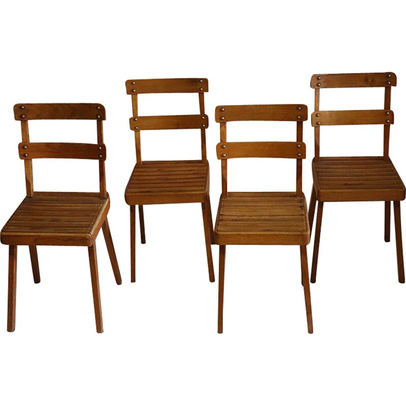 Suite of 6 vintage wooden chairs 1960