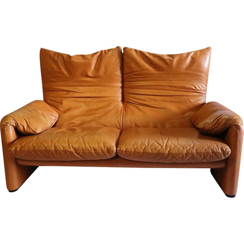Vintage leather sofa by Vico Magistretti for Cassina
