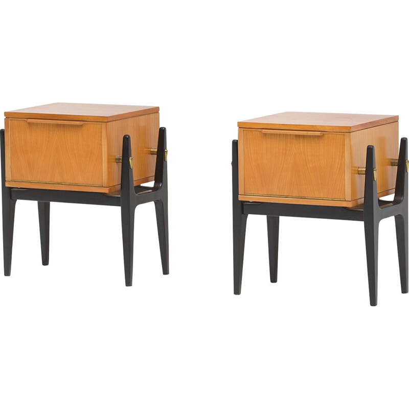 Pair of vintage Belgian nightstands 1950
