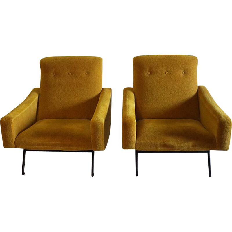 Pair of vintage armchairs by Joseph André Motte from Steiner 1950