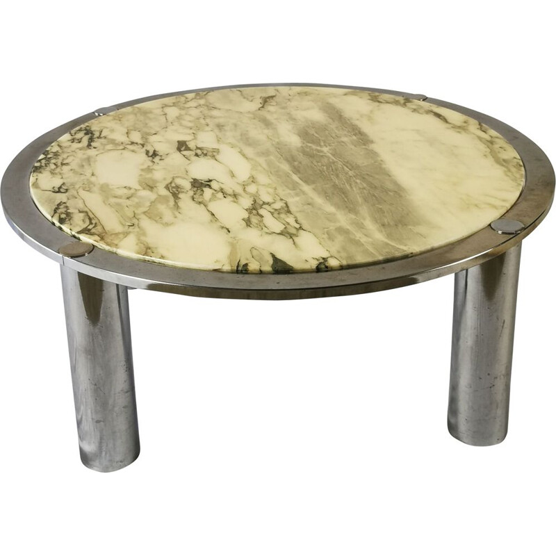 Vintage coffee table in marble and chrome, Italy 1970