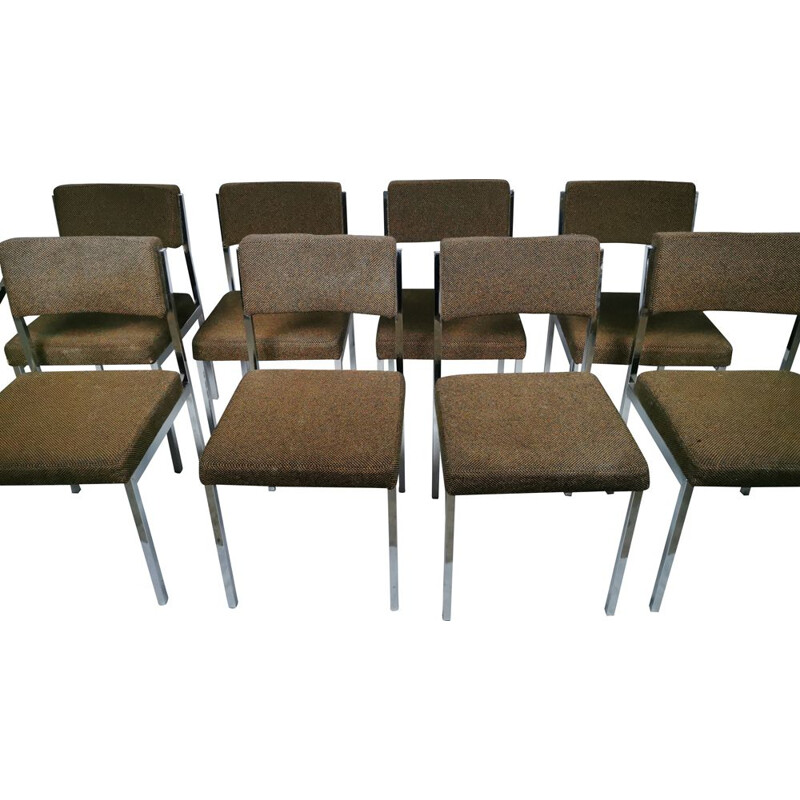 Set of 8 Vintage chromed metal chairs 1970