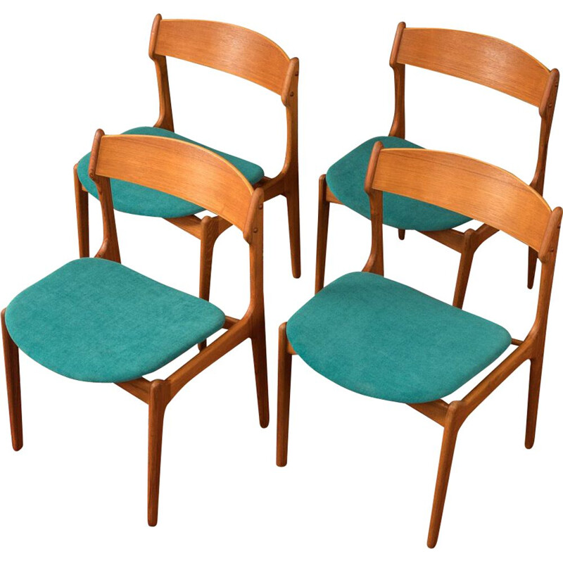 Set of 4 Vintage dining chairs, O.D. Møbler 1950s