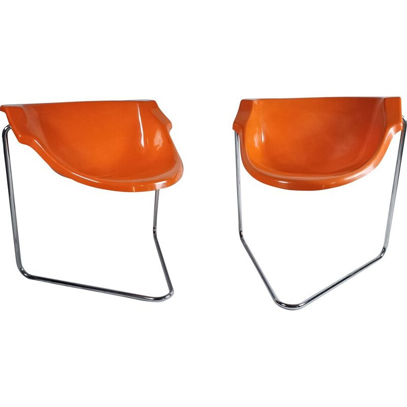 Pair of vintage ''Pussycat'' armchairs by Kwok Hoi Chan for Steiner, 1969