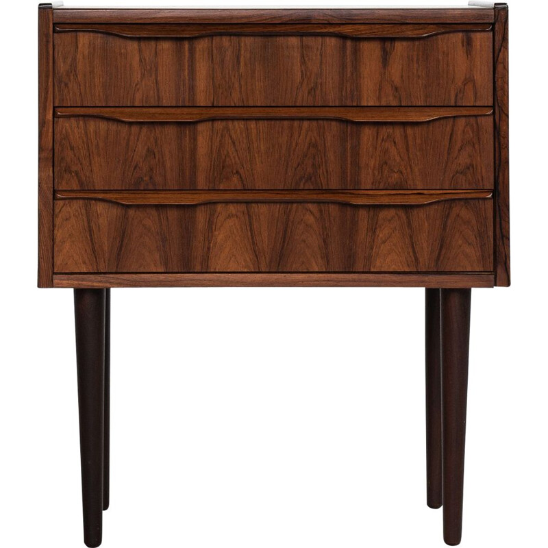 Small midcentury chest of 3 drawers in rosewood with round legs Danish 1960