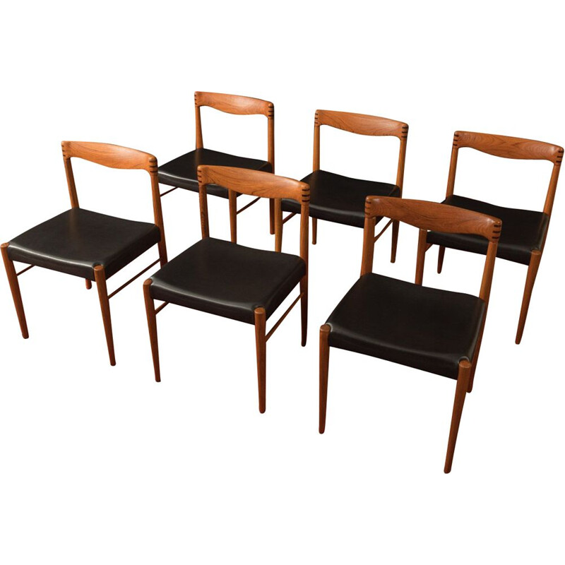 Set of 6 Vintage teak chairs H.W.Klein 1960