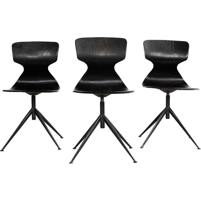 Midcentury industrial black Pagholz chair on central base 1960