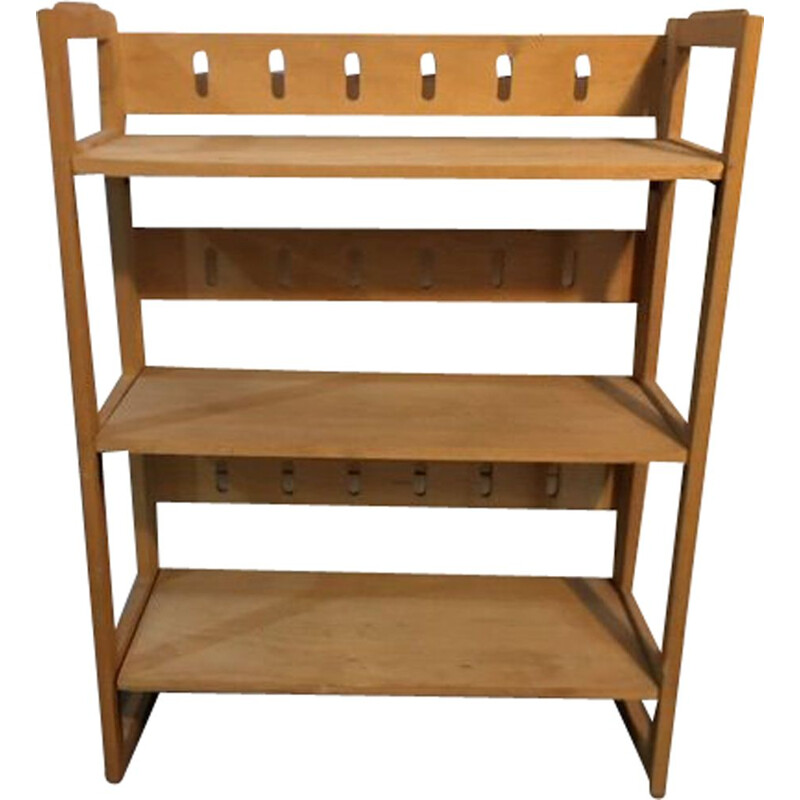 Vintage folding bookcase shelf 3 levels 1960