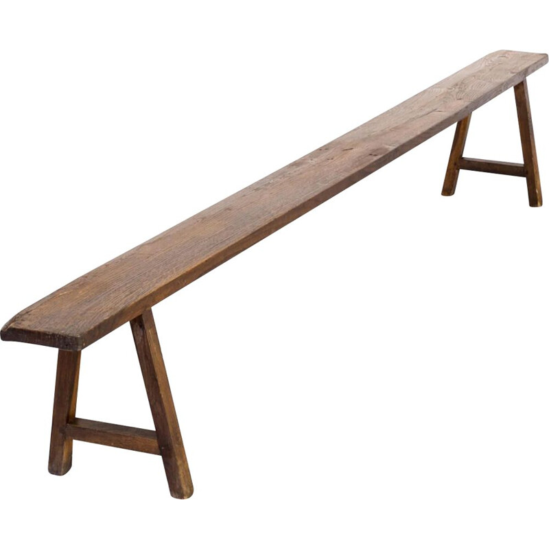 Vintage Organic shaped wooden french bench 50s