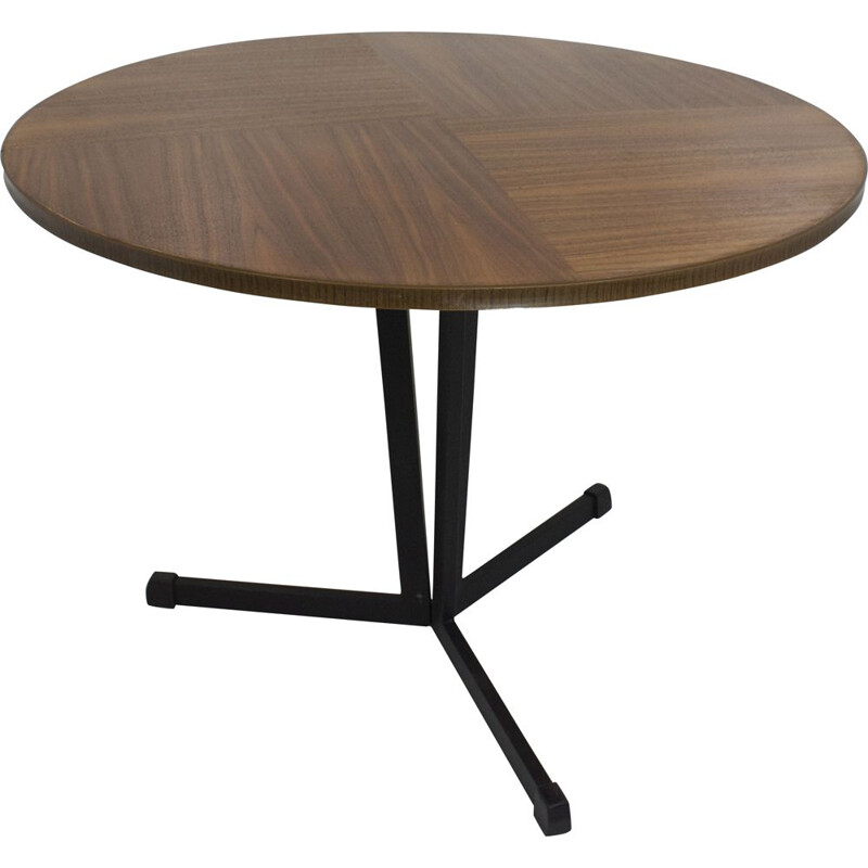 Vintage round coffee table in wood and black lacquered metal 1960