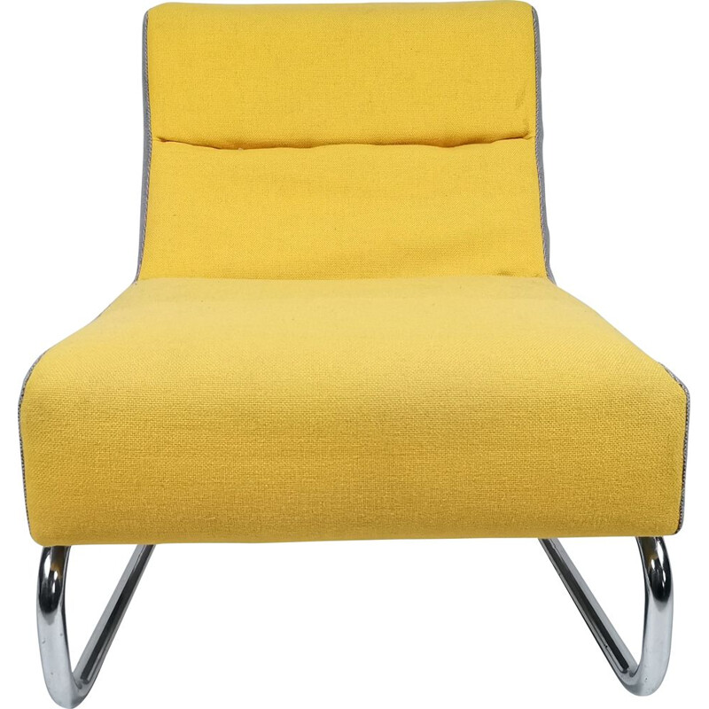 Vintage easy chair in yellow and grey fabric, chrome 1980