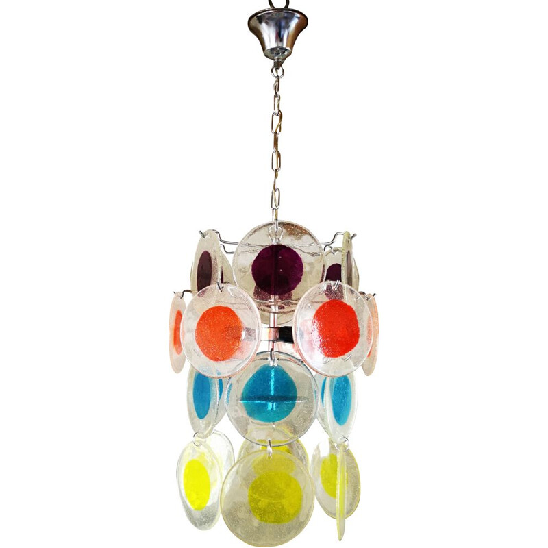 Small vintage chandelier with coloured Italian pastilles 1970
