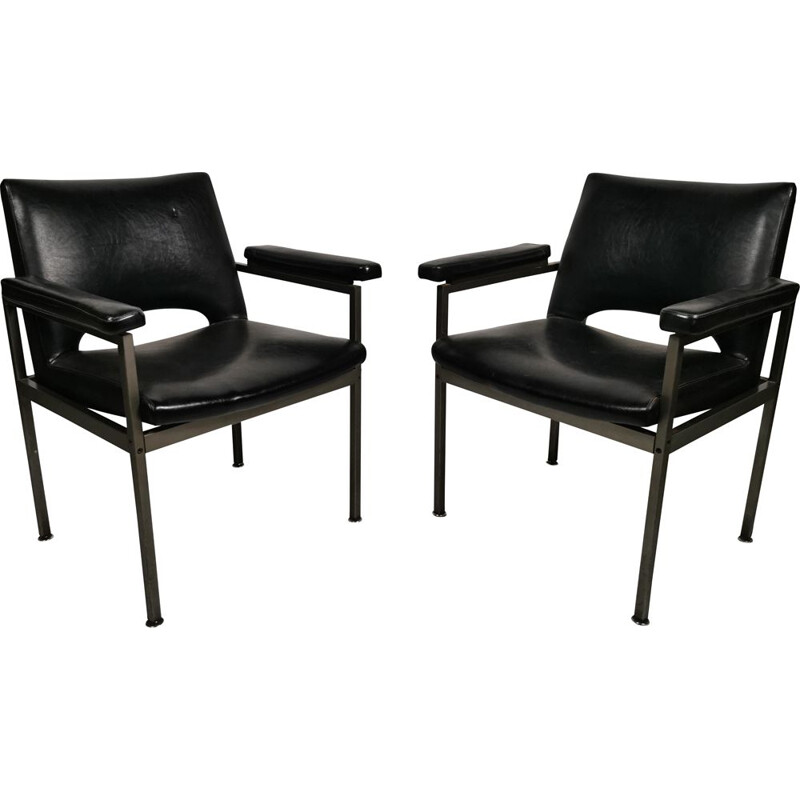 Pair of vintage armchairs in metal and Skai 1970