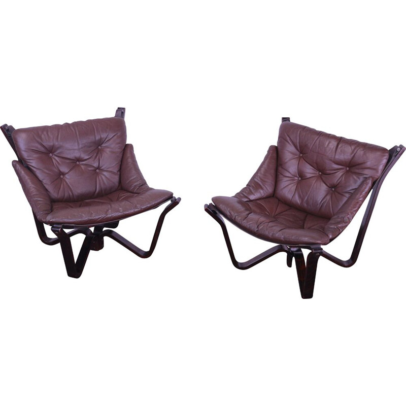 Pair of Viking Chairs by Myrstad Jim for Brunstad, 1970s