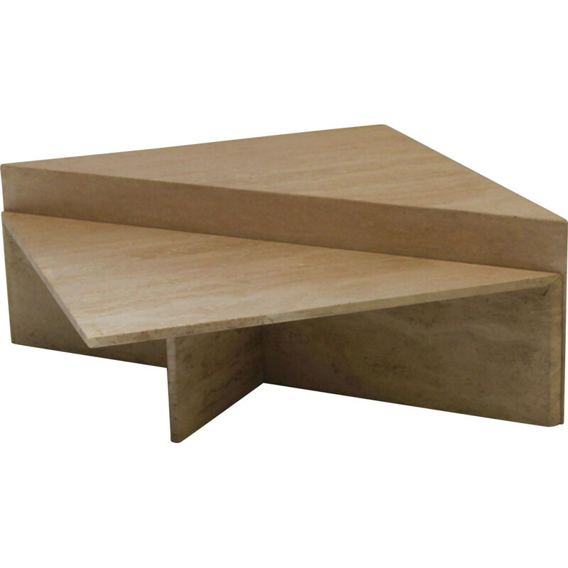 Pair of vintage triangular travertine tables, UP & UP