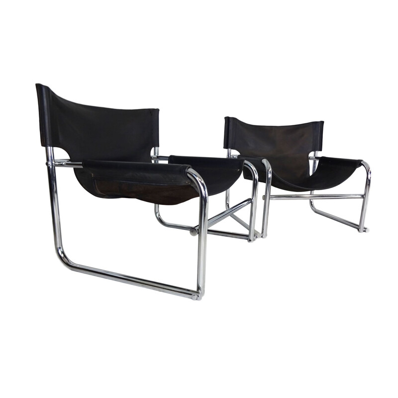 Mid Century Pair of  black leather sling chairs by Rodney Kinsman for OMK 1966
