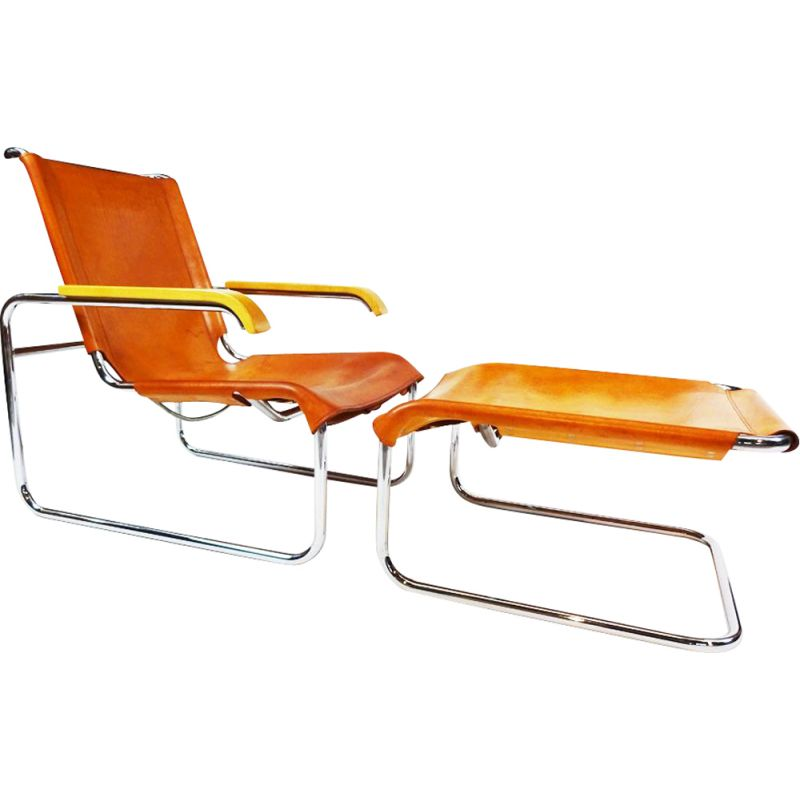 Vintage B35 leather and chrome cantilever armchair and matching footstool Marcel Breuer 20th Century