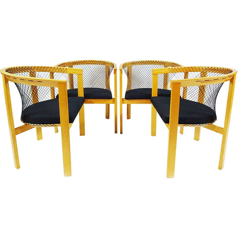 Set of 4 vintage String dining chairs by Niels Jørgen Haugesen for Tranekaer Furniture Danish 1936