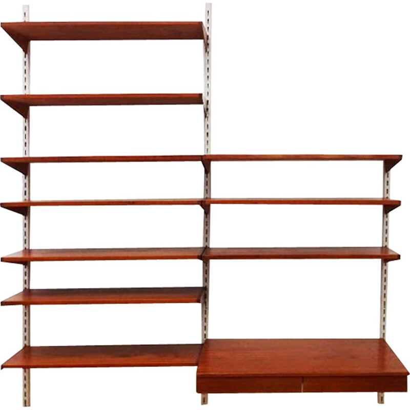 Mid century compact floating teak wall unit and shelving set Kai Kristiansen Danish 1957