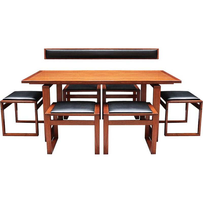 Vintage teak lounge dining table and stool chairs by Erik Buch Danish