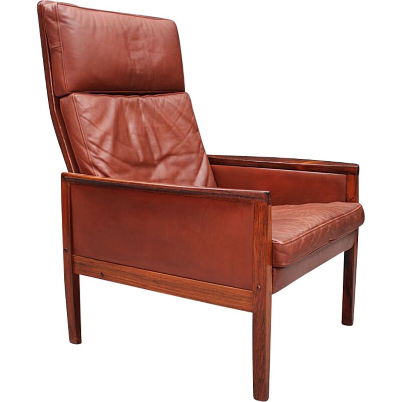 Mid century Cognac Leather high back lounge chair by Hans Olsen Danish 1961