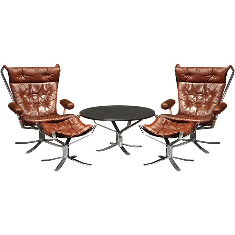 Mid-century Sigurd Ressell chrome and leather Falcon lounge chairs, footstools and coffee table