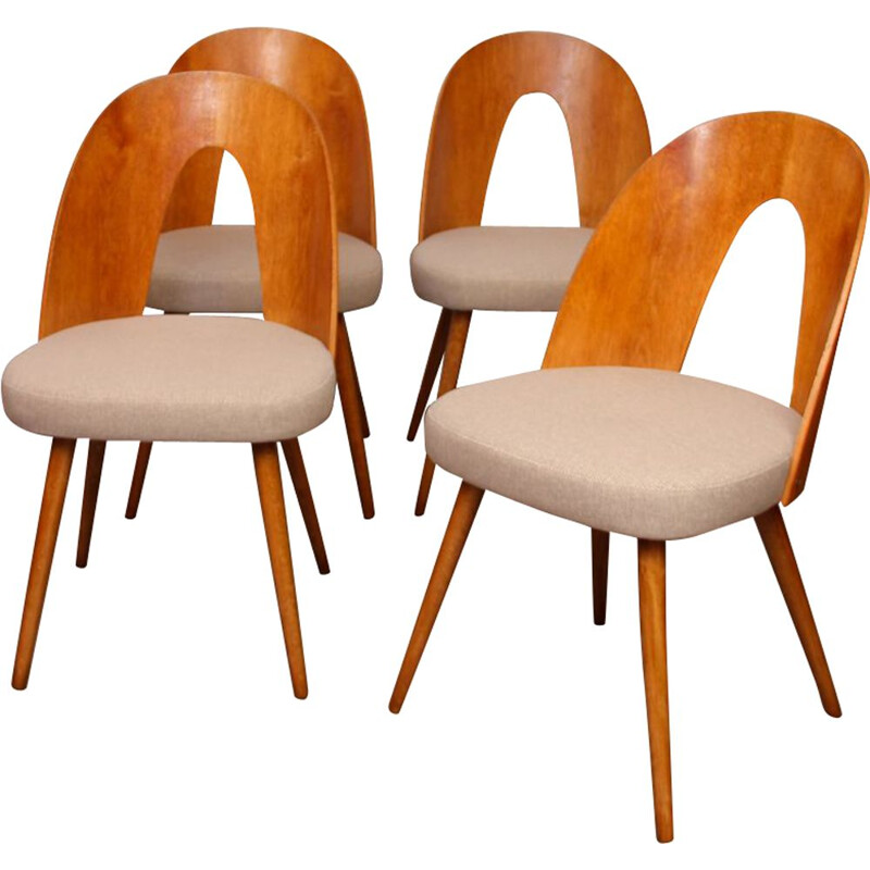 Set of 4 vintage chairs by Antonin Suman for Tatra Nabytok, 1960
