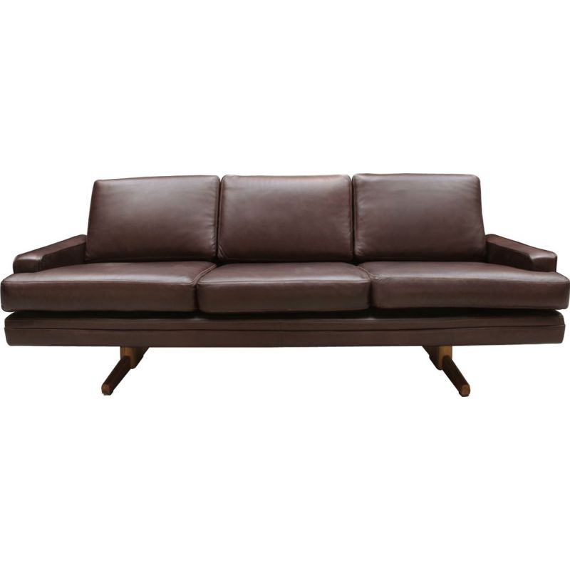 Vintage sofa dark brown modell 807 by Fredrik Kayser for Vatne Mobler Scandinavian