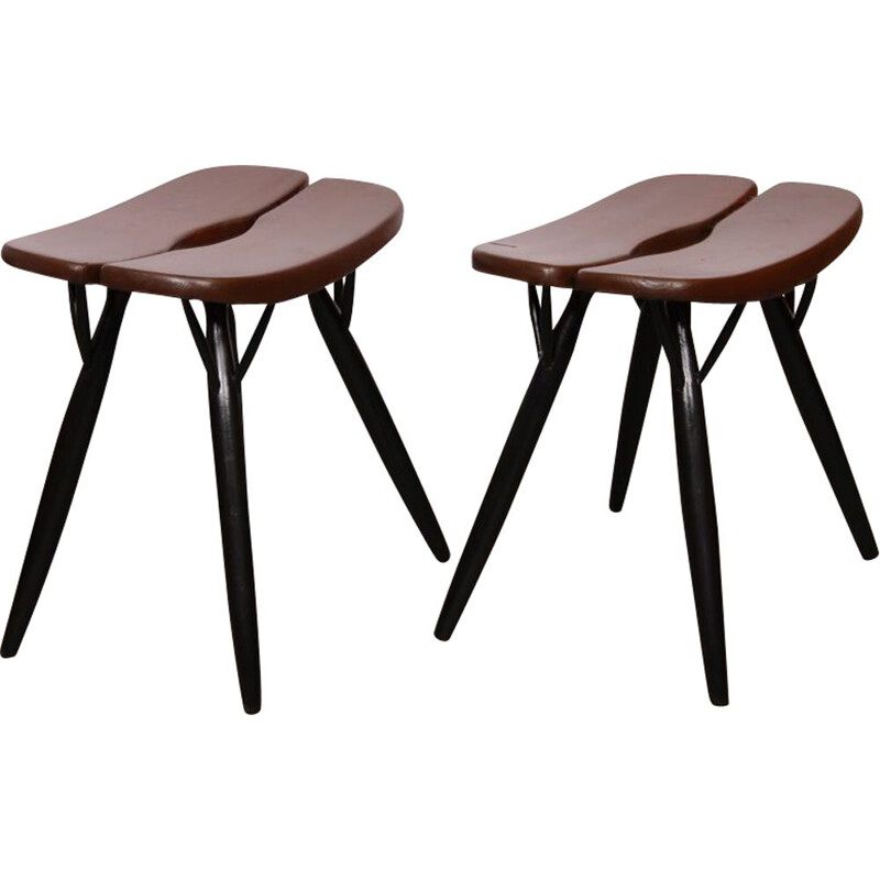Pair of vintage stools by Ilmari Tapiovaara, model Pirkka, 1950