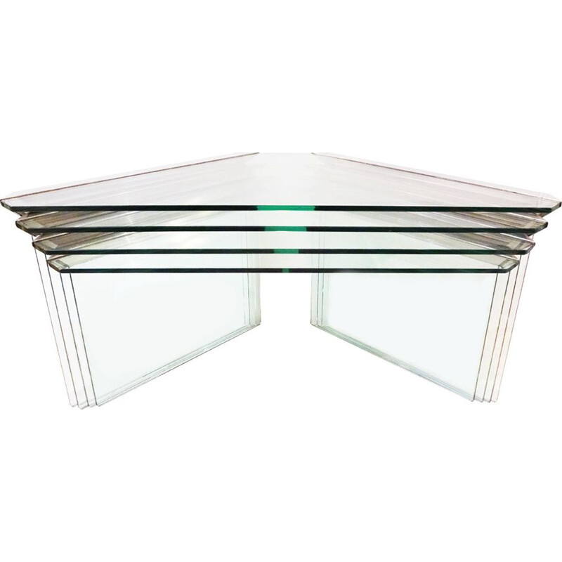 Set of 4 vintage nesting side tables in chrome and glass by Gallotti & Radice 1970