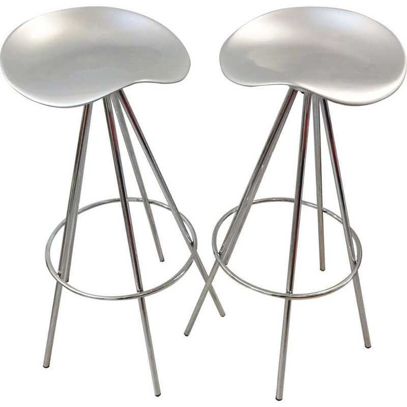 Vintage 'Jamaica' Pepe Cortes bar or kitchen stools Chrome and aluminium Knoll 1990