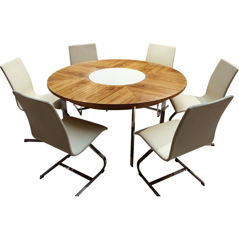 Vintage Circular dining table and matching chairs by Merrow Associates 1960