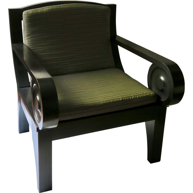 Vintage Sculptural Black Wooden Lounge Armchair 1980