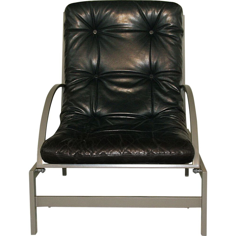 Vintage multi-adjustable leather and steel lounge chair by Guy Lefevre 1970