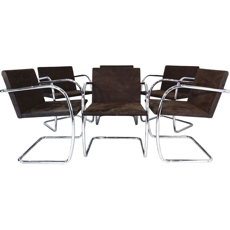 Vintage 6 chairs Mies van der Rohe MR50 Brno for Knoll Studio