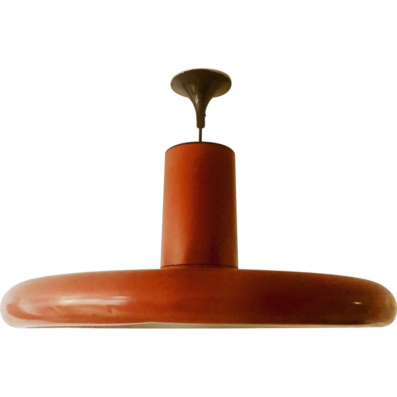 Vintage Lita chandelier in lacquered metal in brick colour 1960