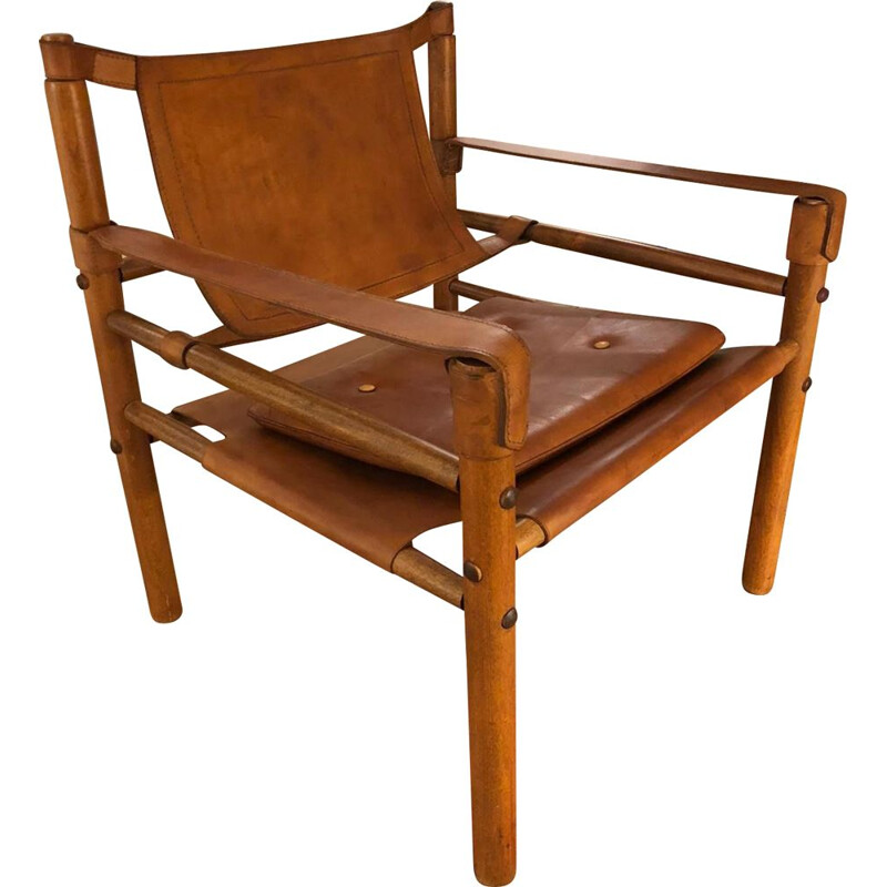 Vintage Safari armchair wood and Scandinavian leather 1960