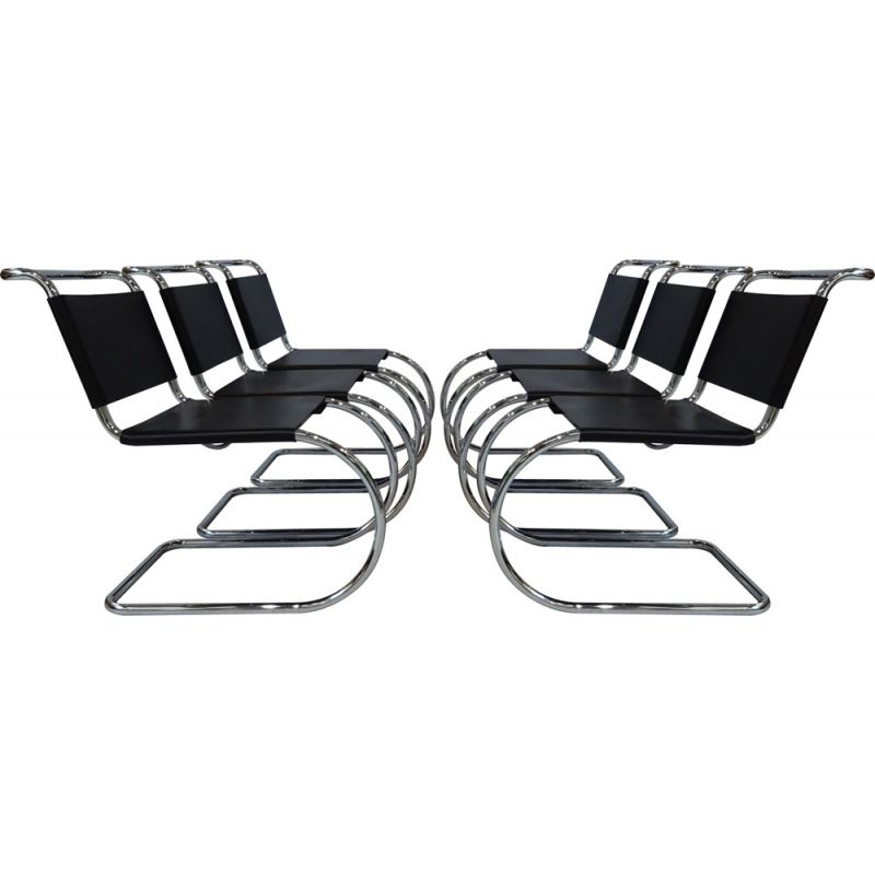 Set of 6 vintage black leather & chrome Mies van der Rohe MR10 chairs for Knoll International