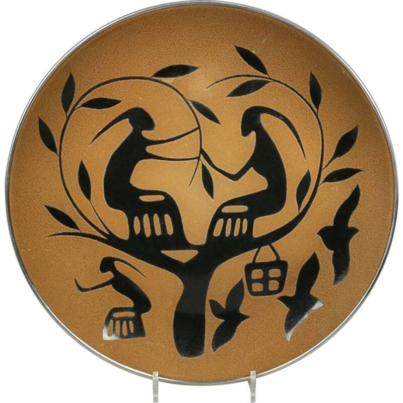 Organic Mid Century enamelled wall plate 1950
