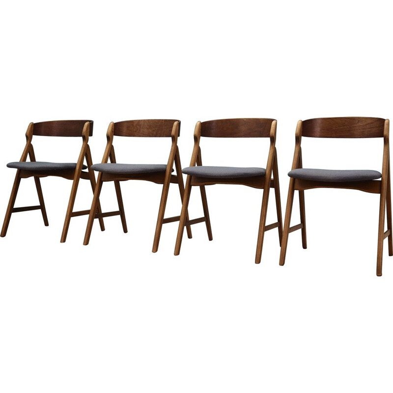 Set of 4 vintage chairs teak, Danish 1970s