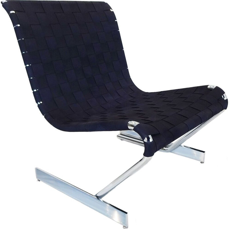 Vintage cantilever chrome lounge chair Scandinavian