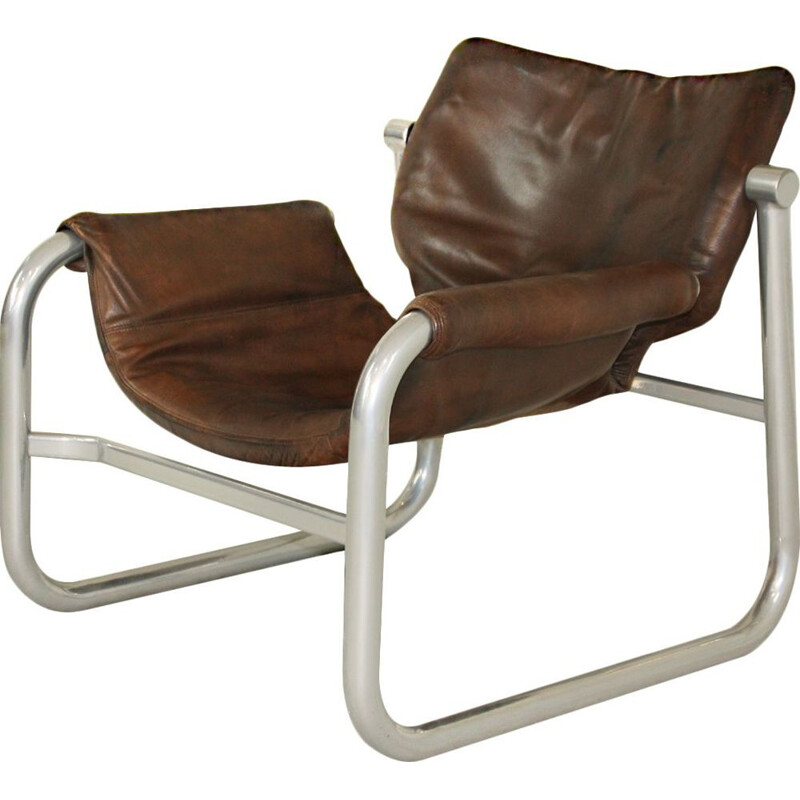 Mid Century leather sling chair by Maurice Burke for Pozza, Brazil 20th Century