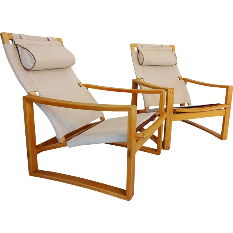 "Pair of danish Mid Century ""Safari"" lounge chairs by Børge Jensen & Sønner"
