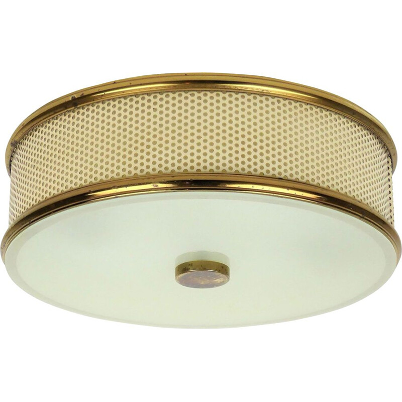 Vintage Lunel metal perforated round ceiling light 1950
