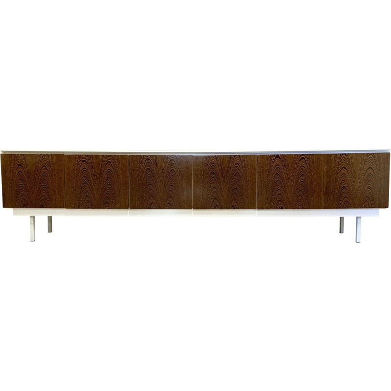 Large vintage sideboard Walnut lacquered wood Metal 1960