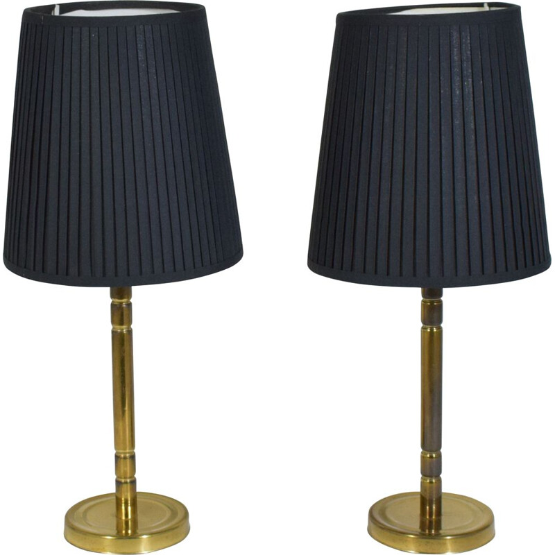 Pair of vintage brass lamps, Denmark